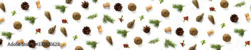 Fotografie, Obraz christmas background with pine cone, wine cork, pine twig and lingonberry