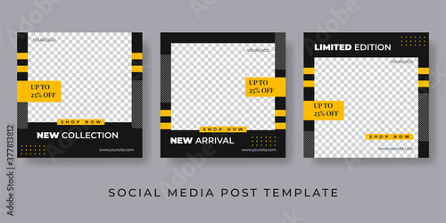 Foto Set of Editable minimal square banner template