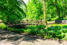 Arched Wooden Bridge In Sofiyivka Park In Uman, Ukraine