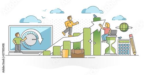 Slika na platnu Productivity with work efficiency performance development outline concept
