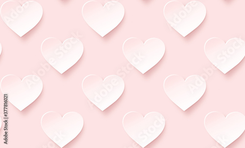 Fototapeta Many white hearts with pink hue on pink background. Symbol of love and Valentine's Day. Modern and trendy conceptual abstract background, seamless pattern. obraz