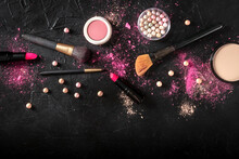 Professional Makeup Design Template On A Black Background. Brushes, Lipstick And Other Products, Shot From Above With Copy Space, A Flat Lay