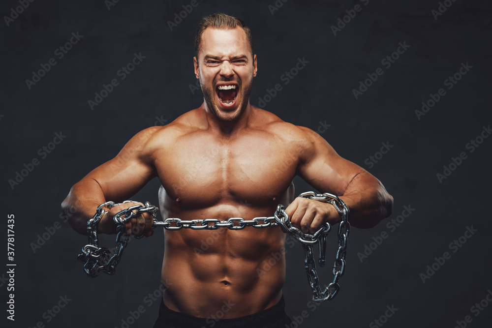Fototapeta Musculate guy with naked torso trying to break the chain and cry in grung background.
