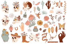 Set Of Cute Mexico And Wild West Objects. Skulls, Cactus, Snake, Horse, Floral Elements. Editable Vector Clipart Illustration.