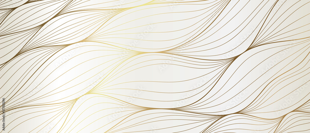 Fototapeta Luxury Gold line art wallpaper. Wall art background design for home decor, wallpaper, print, cover, website, packaging design. vector illustration. - obraz na płótnie