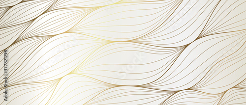 Fototapeta Luxury Gold line art wallpaper. Wall art background design for home decor, wallpaper, print, cover, website, packaging design. vector illustration. obraz na płótnie