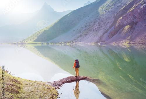 Fototapeta Hike in Fann mountains obraz