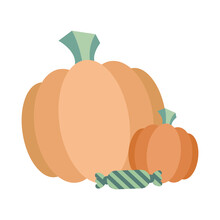 Halloween Pumpkins With Candy Vector Design