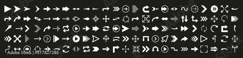 Valokuva Arrows icon set in flat style on black background