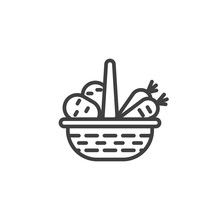 Food Basket Line Icon. Linear Style Sign For Mobile Concept And Web Design. Wicker Basket With Vegetables Outline Vector Icon. Symbol, Logo Illustration. Vector Graphics