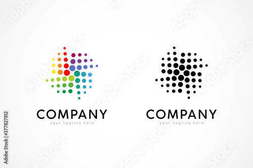 Fotografia, Obraz Abstract pinwheel Logo,pinwheel from dot particle, usable for business and techn