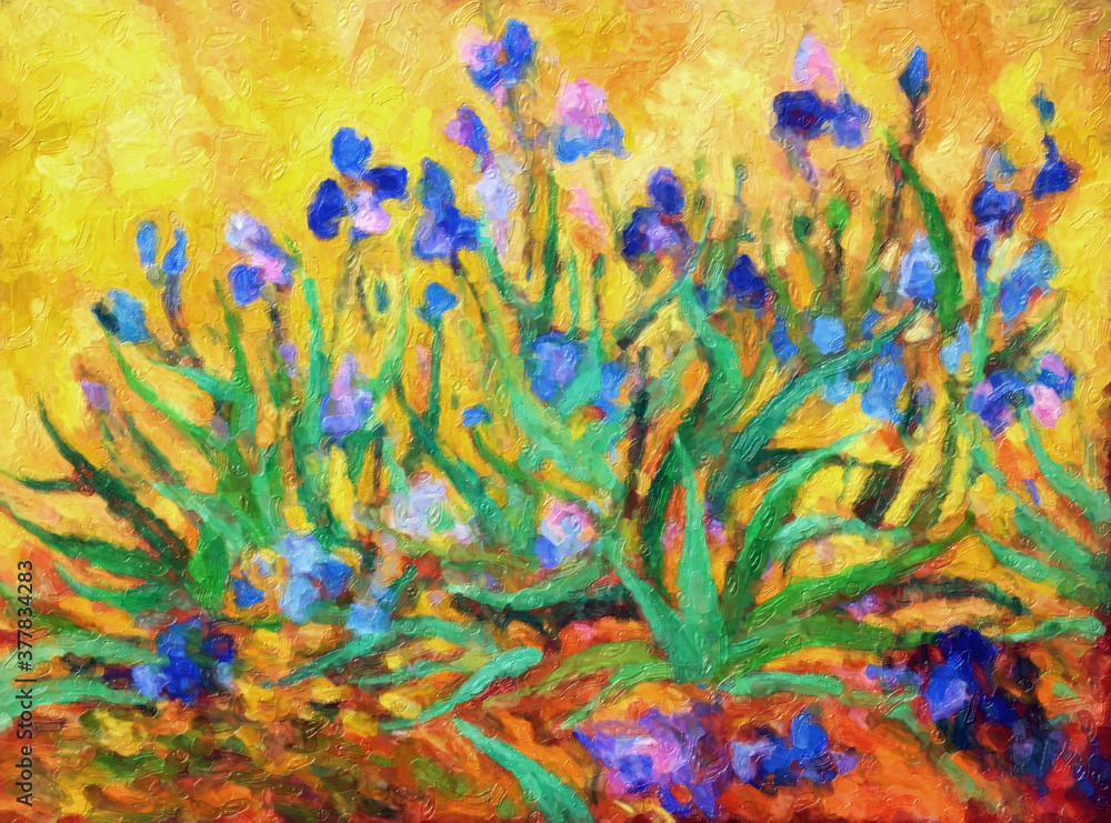 Impressionnisme. Fleurs, iris multicolores sur fond jaune