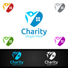 Home Helping Hand Charity Foundation Creative Logo For Voluntary Church Or Charity Donation