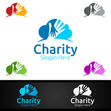 Cloud Helping Hand Charity Foundation Creative Logo For Voluntary Church Or Charity Donation