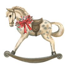 Hand Paint Watercolor Vintage Illustration Of Rocking Horse With Poinsettia, Holly, Red Bow And Berries On White Background. Perfect For Invitations, Greeting Cards, Print And Other Design.