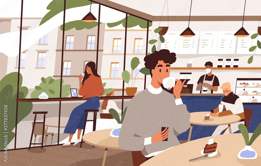 Fototapeta Scene of social distancing at cafeteria. People relax at city cafe. Characters eat dessert and drink coffee or tea at coffeeshop. Flat vector cartoon illustration of modern cozy coffeehouse interior