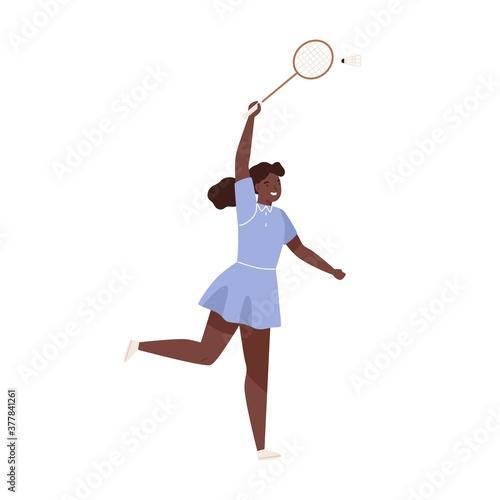 Fototapeta Dark skin female badminton player jumping hitting shuttlecock vector flat illustration. Sportswoman with racket demonstrate smash at training isolated on white. Woman enjoying physical activity obraz