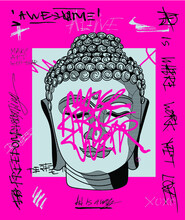 Buddha. Vector Illustration Hand Drawn. Crazy Pink Calligraphy