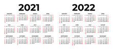 Calendar For 2021 And 2022 On White Background