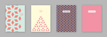 Baby Pink Hexagon Pattern Brochure Cover Design Template Vector Set/ EPS 10