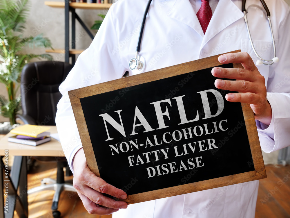 Fototapeta Non-alcoholic fatty liver disease NAFLD the doctor is holding a sign.