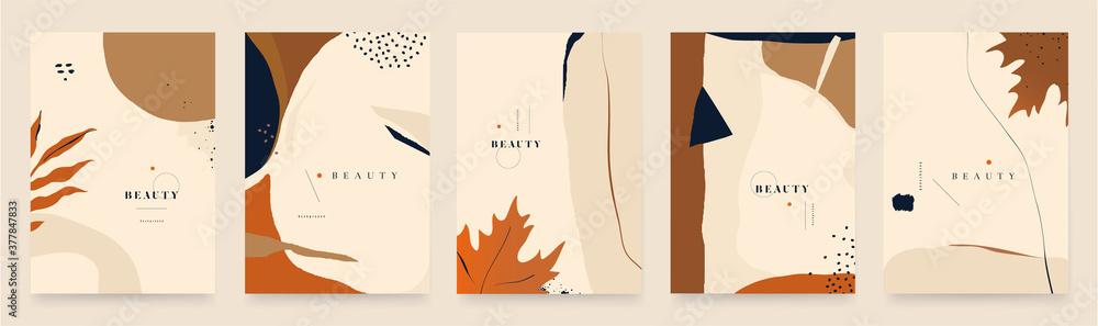 Fototapeta Modern seasonal artistic abstract background templates. Trendy hand drawn vector illustration.