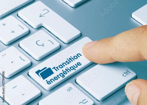 Transition énergétique - Inscription sur la touche du clavier bleu Canvas Print