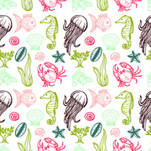Seamless Pattern With Cute Hand Drawn Elements Of Marine Theme Including Fish, Shells And Others. Hand Drawn Marine Collection