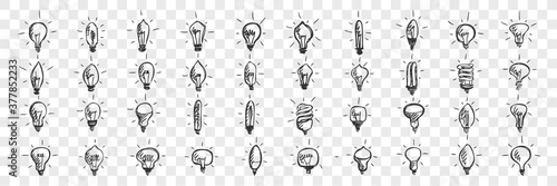 Obraz Light bulbs doodle set. Collection of hand drawn pencil sketches template patterns of lamps enlightment devices on transparent background. Illustration of idea and creative thinking symbols. - fototapety do salonu