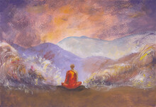Acrylics Painting Of Meditating Buddhist Monk In Orange Robe & Layers Of Rocks. Calm Oriental Landscape With Blue Asian Mountains. Concept For Decoration, Relax, Peaceful Meditation Background.