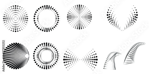 Halftone dots in tunnel form. round logo . vector dotted frame pipe . tube design element