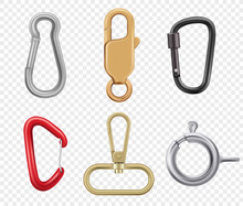 Carabine Hook. Climbers For Hiking Loop Vector Keys And Lock Illustrations Realistic. Safety Hook For Climbing, Metal And Steel Equipment Tool