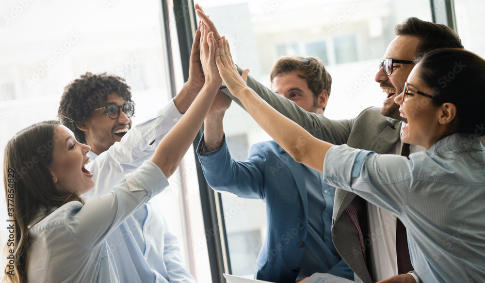 Fototapeta Successful entrepreneurs and business people achieving goals