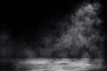 Empty space of Studio dark room with spot lighting and white smoke in black background.