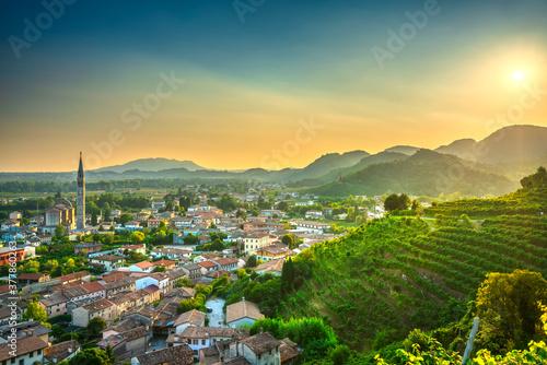 Col San Martino, vineyards and village. Prosecco Hills, Unesco Site, Veneto, Italy