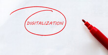 White Paper With Text Digitalization On The White With Red Marker