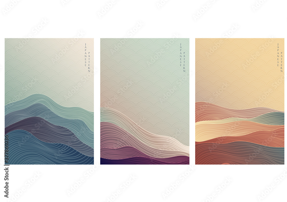 Fototapeta Japanese background with line wave pattern vector. Abstract template with geometric pattern. Mountain layout design in oriental style.