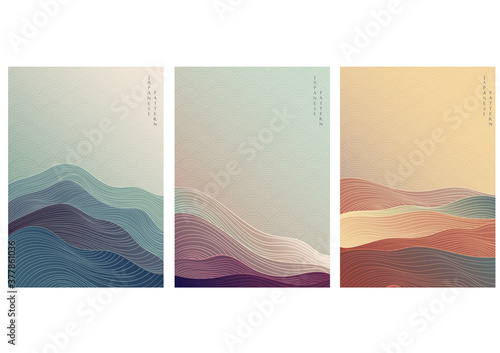 Japanese background with line wave pattern vector. Abstract template with geometric pattern. Mountain layout design in oriental style. - fototapety na wymiar