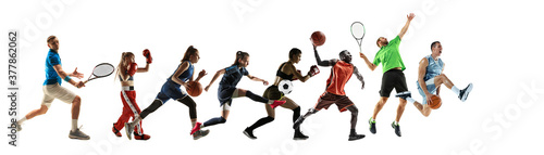 Photo Sport collage of professional athletes or players isolated on white background, flyer