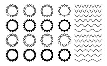 Wave Zigzag Dividers. Undulating Zig Zag Round Frames. Isolated Horizontal Squiggle Wavy Lines, Black Curved Serrated Borders Vector Set. Zigzag Divider Border, Pattern Parallel Curvy Illustration