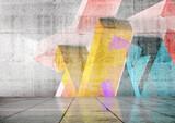 Pusty pokój z kolorowymi geometrycznymi graffiti, 3d
