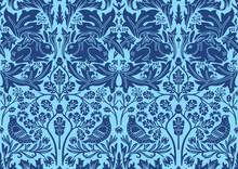 Blue Hand Drawn Seamless Patte...