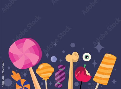 Fotografía Trick or treat candies bone and apple vector design
