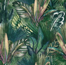 Tropical Leaves Hand-drawn By Watercolor. Seamless Tropical Pattern. Stock Illustration