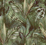 Tropical leaves hand-drawn by watercolor. Seamless tropical pattern. Stock illustration - 377875438