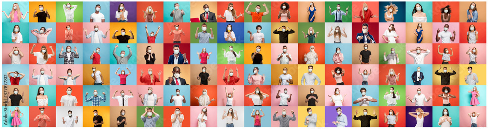 Fototapeta The collage of surprised people in face masks on multicolored backgrounds. Happy men and women. Human emotions, facial expression, safety concept. Collage of facial expressions, emotions, feelings