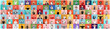 Leinwandbild Motiv The collage of surprised people in face masks on multicolored backgrounds. Happy men and women. Human emotions, facial expression, safety concept. Collage of facial expressions, emotions, feelings