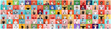The Collage Of Surprised People In Face Masks On Multicolored Backgrounds. Happy Men And Women. Human Emotions, Facial Expression, Safety Concept. Collage Of Facial Expressions, Emotions, Feelings
