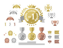 Simple Cute Icons Combo Of Ranking / Gold, Silver, Bronze Medals