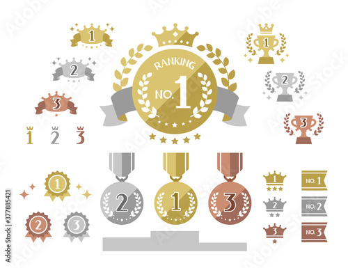 Fotomural simple cute icons combo of ranking / gold, silver, bronze medals